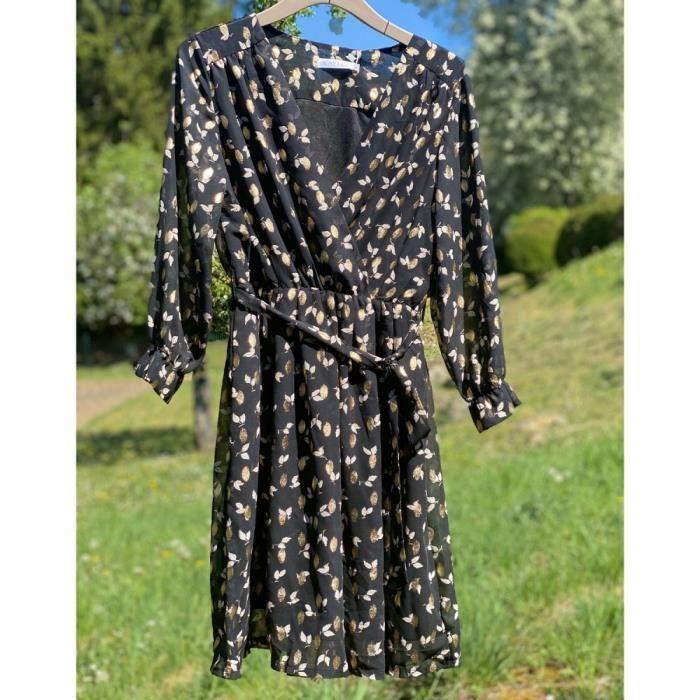 Robe Courte Fluide Cache Coeur A Manches 3 4 Noir Motif Feuille Dorures Metalisees S M Noir Achat Vente Robe Cdiscount