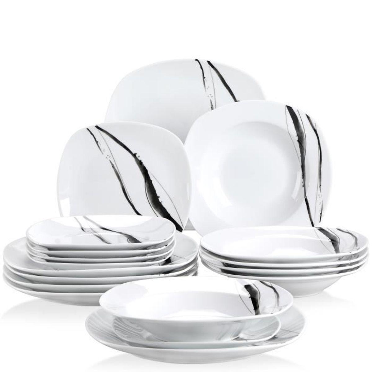 Veweet OLINA 18pcs Assiettes Pocelaine Service de Table 6pcs Assiettes Plates 24,7cm 6pcs Assiette /à Dessert 19cm Vaisselles pour 6 Personnes Design Fleuri 6pcs Assiette Creuse 21,5cm