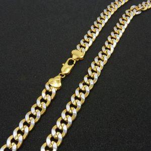 CHAINE DE COU SEULE collier de bordure solide 2 tons Plaqué or jaune 1
