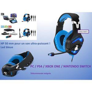CASQUE AVEC MICROPHONE CASQUE GAMER PC PS4 SWITCH TÉLÉCOMMANDE INTÉGRÉE M
