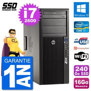 ORDI BUREAU RECONDITIONNÉ PC Tour HP Z210 Intel Core i7-2600 RAM 16Go SSD 24