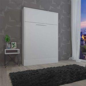 LIT ESCAMOTABLE Armoire Lit escamotable Blanc - NANY - L 158 x l 5