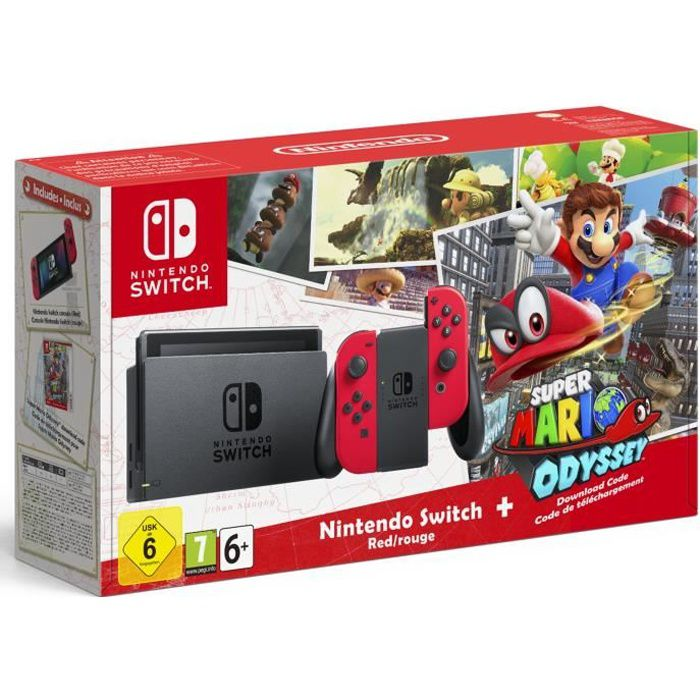 CONSOLE NINTENDO SWITCH Nintendo Switch avec paire de Joy-Con rouge + code