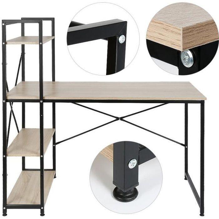 Table de Bureau avec étagère de Rangement, Style industriel, Bureau d'ordinateur stable en Métal et Bois - 120x64x121cm Chêne clair