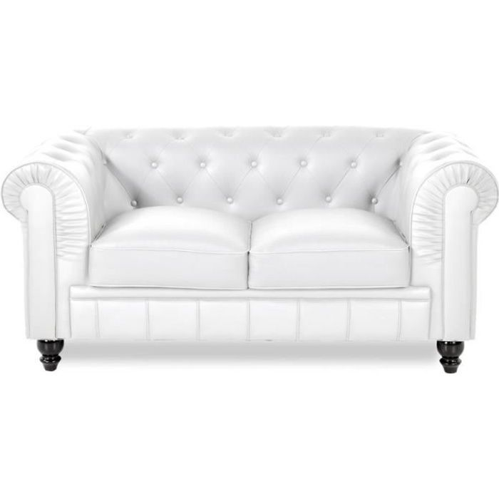 Chesterfield canapé 2 places - PU Blanc