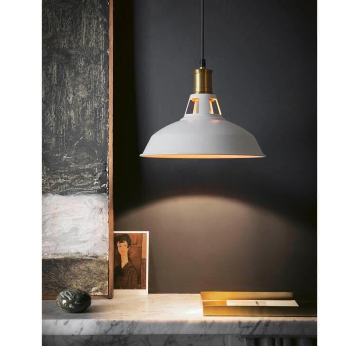 Yote E27 Lustre Plafonnier Industrielle Lampe Suspension Luminaire Vintage en Métal Blanc