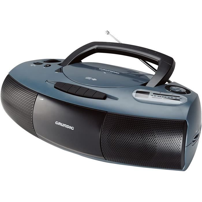 Grundig RRCD 1400 Radio/Lecteur Cassette-CD-MP3 Gris/Noir