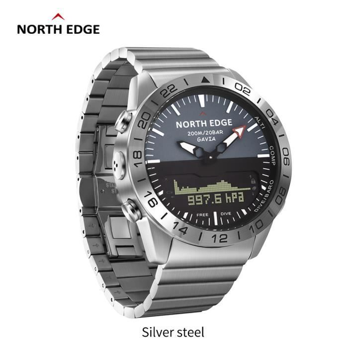 A North Edge GAVIA 2 montres pour hommes d'affaires de luxe en acier complet étanche 200 m altimètre boussole plongée sport numériqu