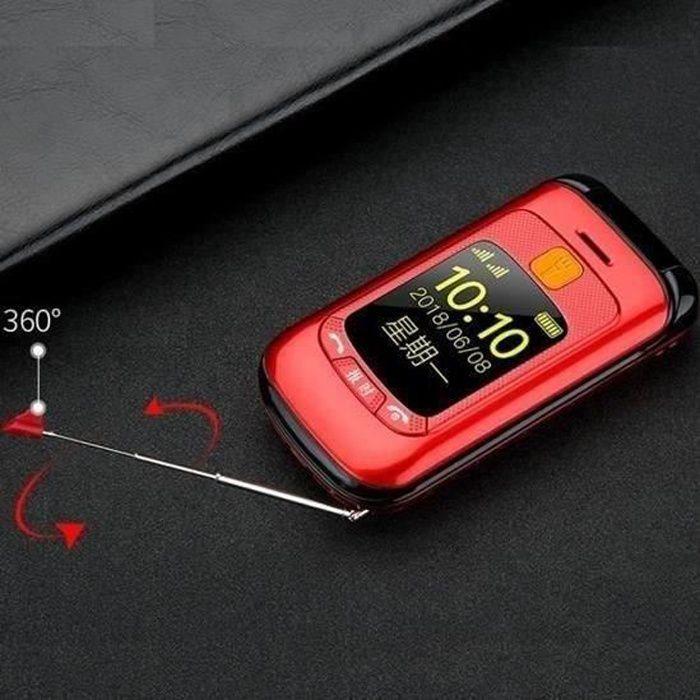 Téléphone grosses touches mobile sénior à clapet - Double écran LCD - Sonnerie et volume ultra fort - Bouton SOS