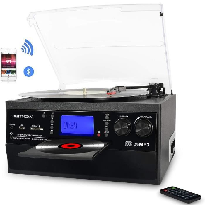 DIGITNOW! Platine Vinyle Bluetooth Tourne-Disque USB mp3 et Fonction Encodage Classique Lecteur CD avec CD Cassette Radio 33/45/78