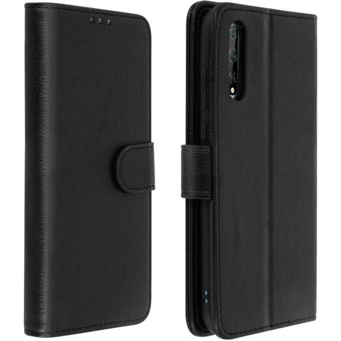 Étui Huawei P Smart S Housse Intégrale Porte-carte Fonction Support Noir