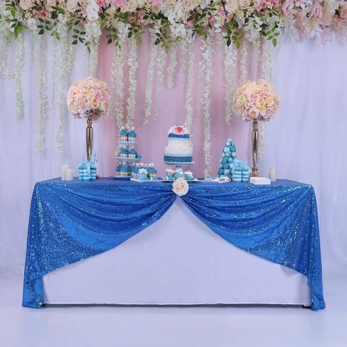 Nappe de Table Couleur Uni en Paillette Décor Bleu Roi 60cm