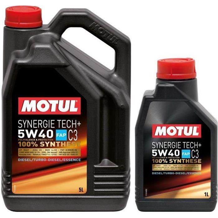 MOTUL Huile SYNERGIE TECH+ 5W40 5+1L MIXTE (bidon) - Huile auto
