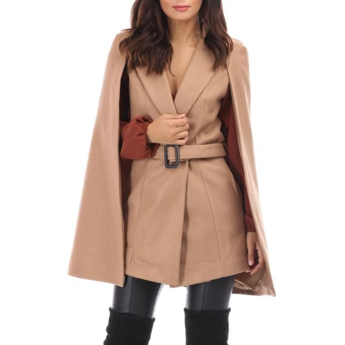Manteau cape camel court