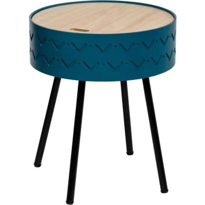 Table d'Appoint Design Coffre -Shiro- 45cm Bleu