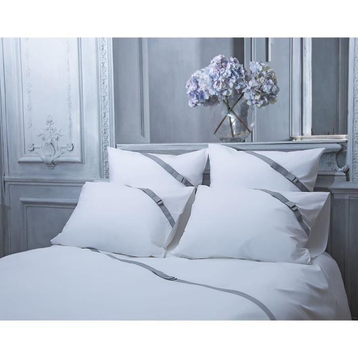Taie d'oreiller Bow Tie blanc percale 65x65 - Perle de Coton