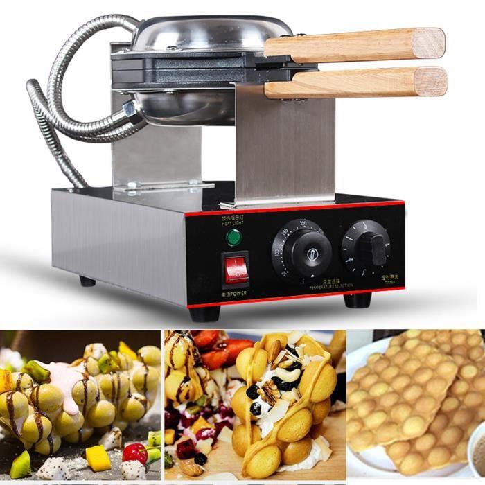 Gaufrier Machine à Gâteaux aux Oeufs Electrique Gaufrier en Acier Inoxydable,Appareil a Gaufres Poignée en Bois pour Cuisine Restaur