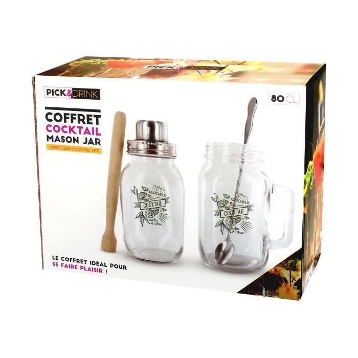 Coffret Cocktail Mason Jar Mojito Verre Shaker Pilon Et Cuillère