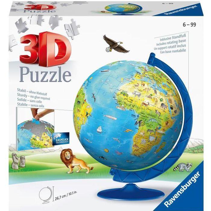 Puzzle 3D Globe terrestre 180 pièces - Ravensburger - Puzzle enfant 3D éducatif - sans colle - Dès 7 ans