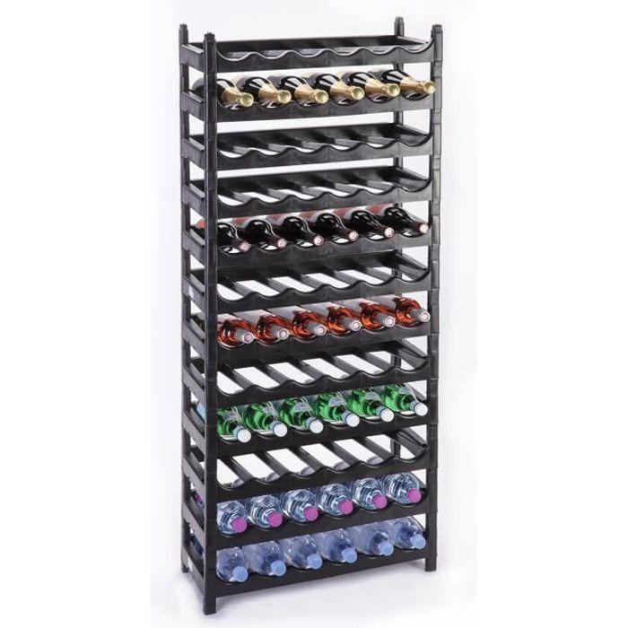 Etagère à bouteille, casier à vin modulable plastique noir 72 bouteilles Noir