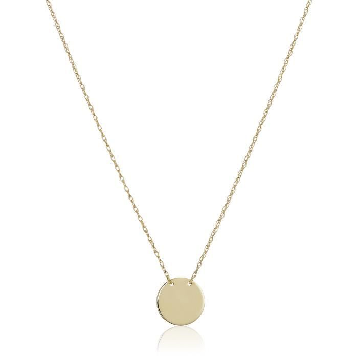 14k Yellow Gold Mini Round Disc Necklace, Adjustable 16-18 MWCDR
