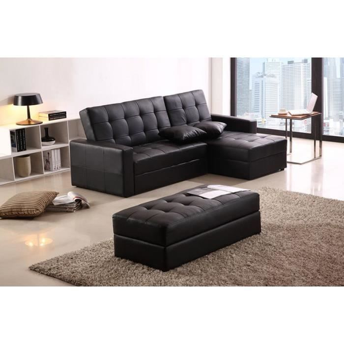 canap d 39 angle droit convertible pouf achat vente. Black Bedroom Furniture Sets. Home Design Ideas