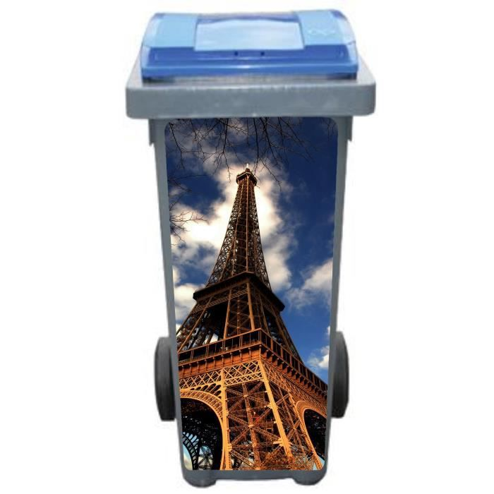 Stickers poubelle d co tour eiffel dimensions achat vente stickers - Tour eiffel dimension ...