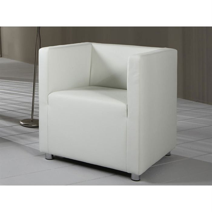 fauteuil moderne cuir blanc l ane achat vente fauteuil mati re de la structure bois massif. Black Bedroom Furniture Sets. Home Design Ideas
