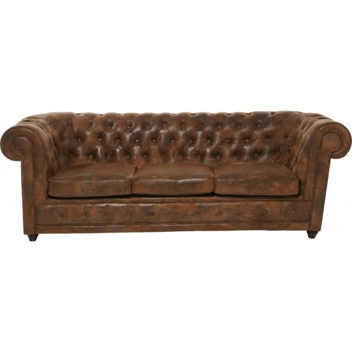 Canap chesterfield vintage 3 places achat vente canap sofa divan pu - Canape chesterfield vintage ...