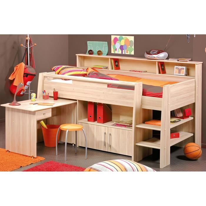 lit combin adolescent 90x200 cm couleur h tre achat. Black Bedroom Furniture Sets. Home Design Ideas
