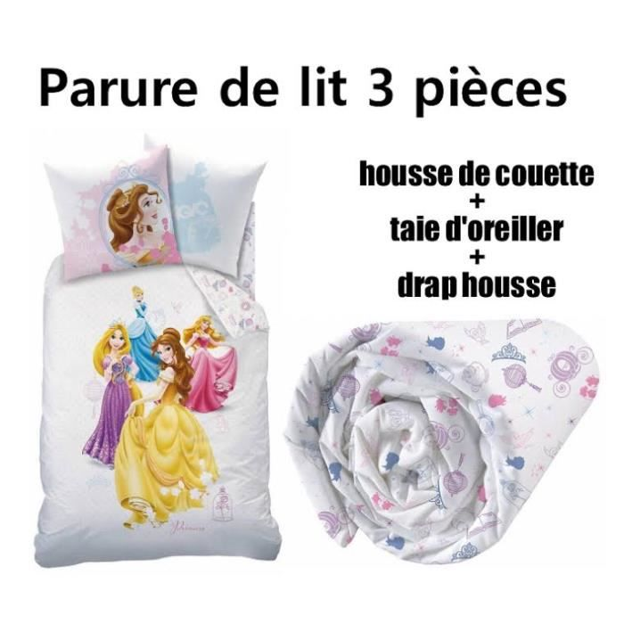 disney princesse parure de lit 3 pi ces housse de couette taie d 39 oreiller drap housse big. Black Bedroom Furniture Sets. Home Design Ideas