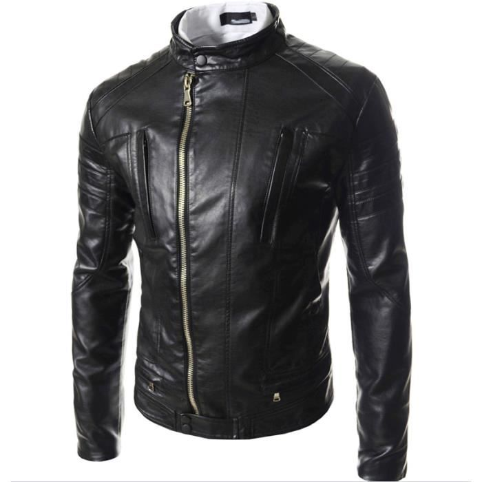 blouson biker simili cuir homme noir noir achat vente. Black Bedroom Furniture Sets. Home Design Ideas