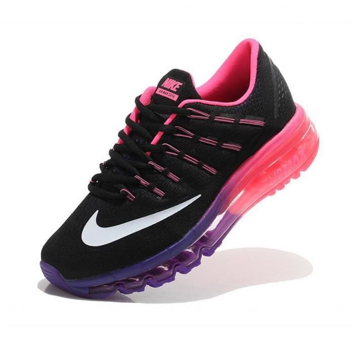 femmes nike air max 2016 baskets chaussures de running noir rose et violet tu achat vente. Black Bedroom Furniture Sets. Home Design Ideas
