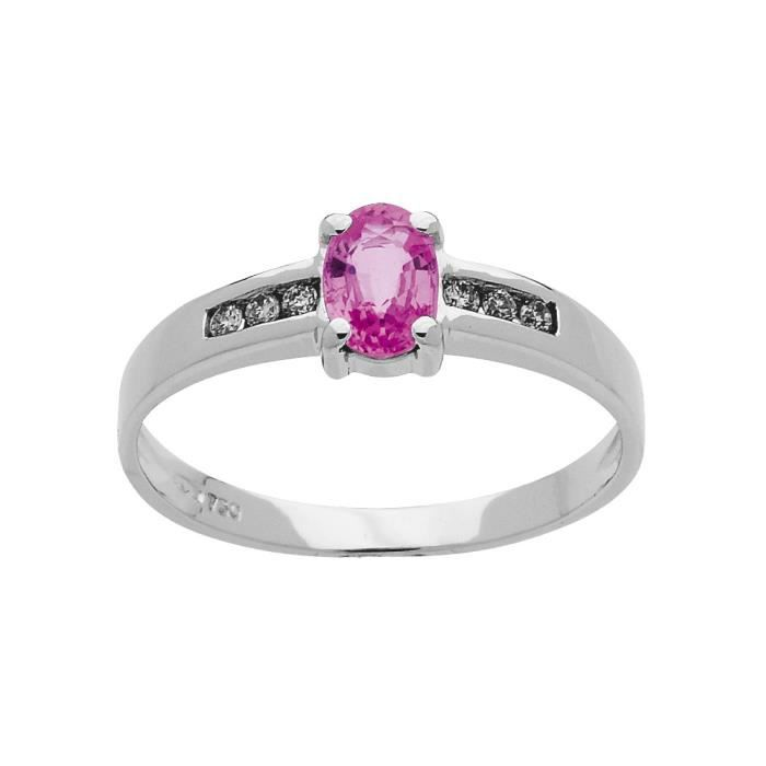 DIAMANTLY bague saphir rose ovale 6x4 diamants 0,12ct or gris 750/1000