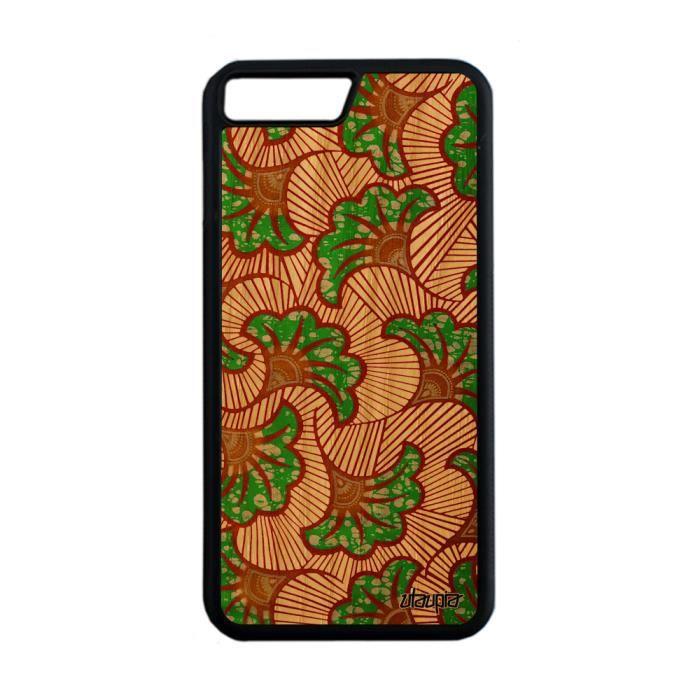 Coque iPhone 7 Plus bois silicone wax ethnique ver