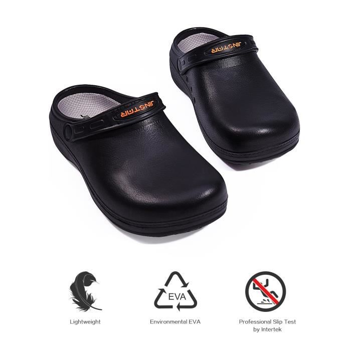 Unisex Black Non Slip Chef Shoes Slip Resistant Clogs For Women LI6I0 Taille-43