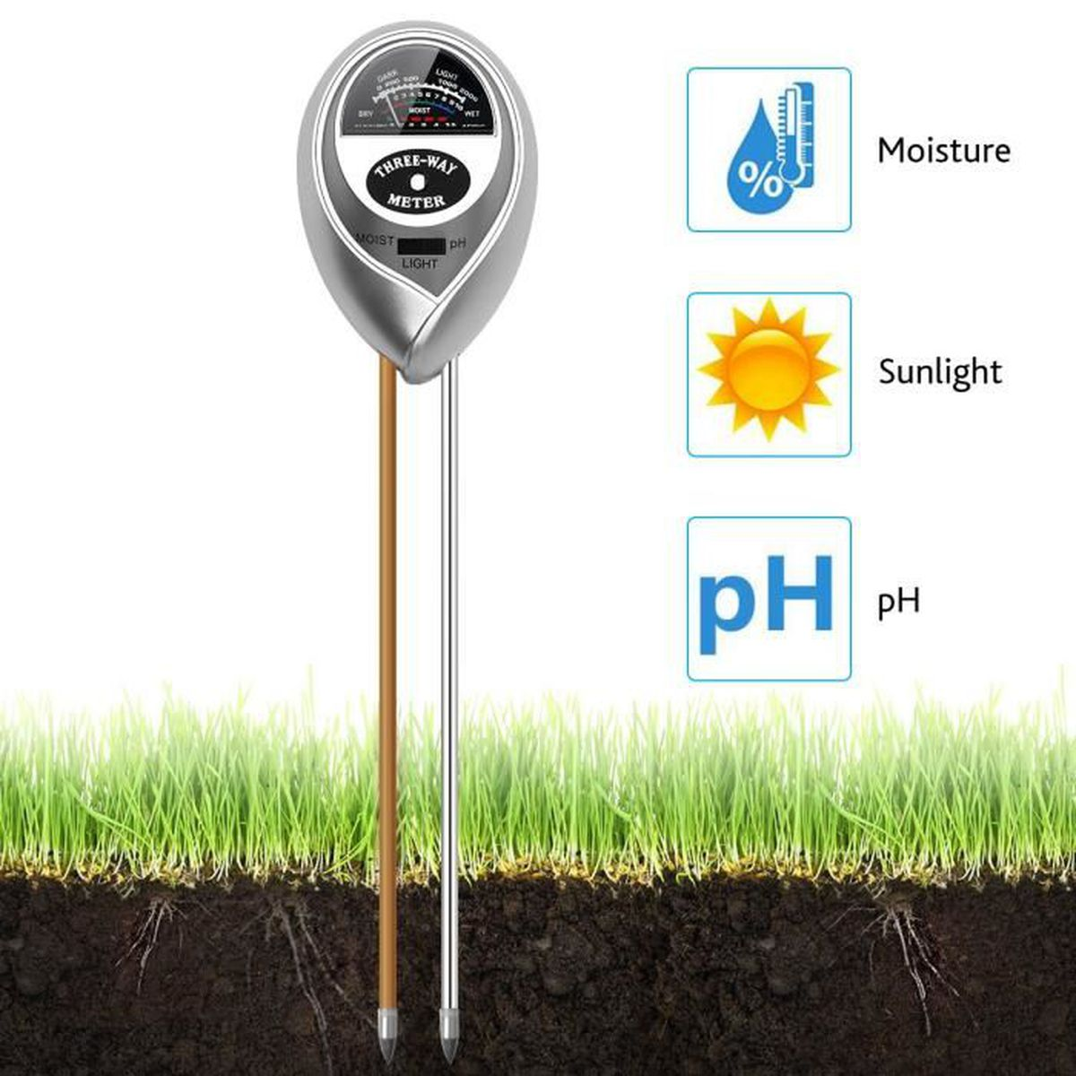 /Épreuve de lhumidit/é du sol de la lumi/ère et du pH Testeur de sol 3-en-1 M/ètre pour plantes int/érieures ou ext/érieures Fleurs Herbe et pelouse