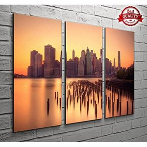 TABLEAU - TOILE 3 panneau New York Manhattan Orange Skyline Citysc