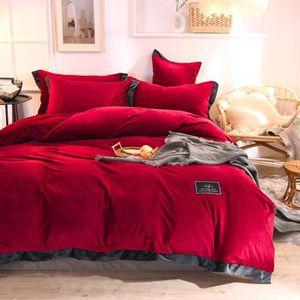 HOUSSE DE COUETTE SEULE Parure de lit velours couleur unie chaud Rouge:hou