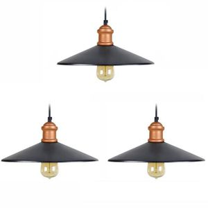 LUSTRE ET SUSPENSION CHICAGO Lot de 3 suspensions vintage - Ø 33 x H 80