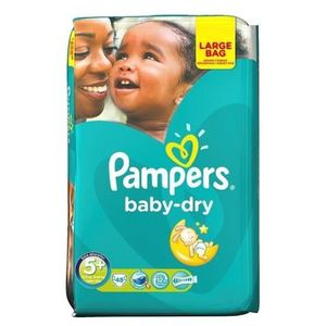 COUCHE PAMPERS Baby Dry Taille 5+ - De 13 à 25kg - 48 Cou