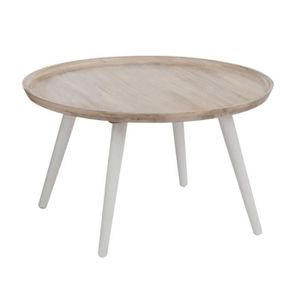 Table ronde en bois blanc achat vente table ronde en for Table basse ronde blanc