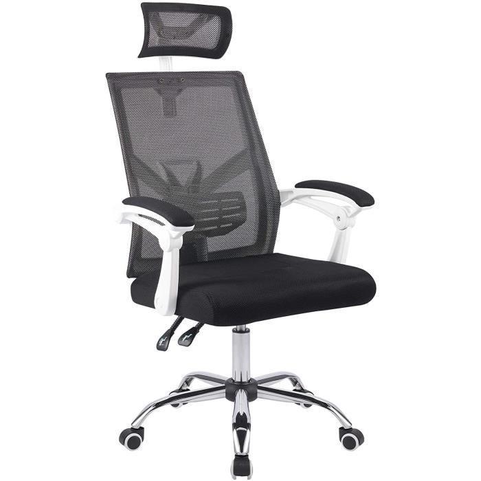 Chaise de Bureau Ergonomique Réglable, Fauteuil Pivotant en Maille avec Appui-Tête Ajustable Support Lombaire et Accoudoirs (Blanc)