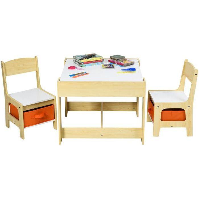 COSTWAY Ensemble Table et 2 Chaises pour Enfant en Bois Tableau Transformable à Tableau Noir avec Chaise Fonction de Stockage Gris