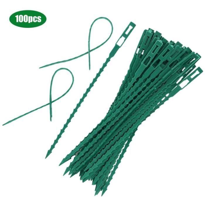 Lot de 100pcs Serre-câble Lien en Plastique Attaches Réglables Serre Câbles Réutilisables pour Plantes Vertes Et Arbustes Jardinage
