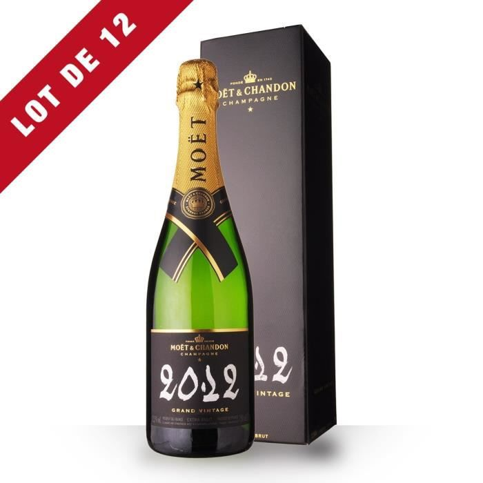 Lot de 12 - Moët et Chandon Grand Vintage 2012 Extra Brut - Etui - 12x75cl - Champagne