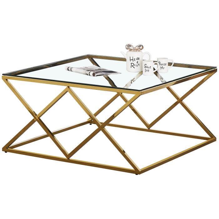 Table basse design carré en acier inoxydable poli doré et plateau en verre trempé transparent L. 100 x P. 100 x H. 50 cm