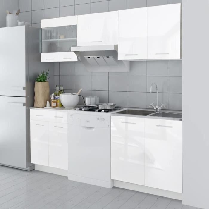 Cuisine complète 5 pcs Armoire de cuisine Buffet de cuisine Blanc haut brillance 200 cm