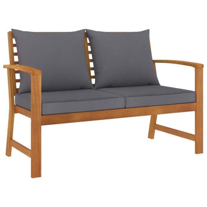 🍞7755Haute qualité- Banc de Jardin 2-3 Places - Style Contemporain Banquette Extérieur - et coussin gris foncé 120cm Bois solide d