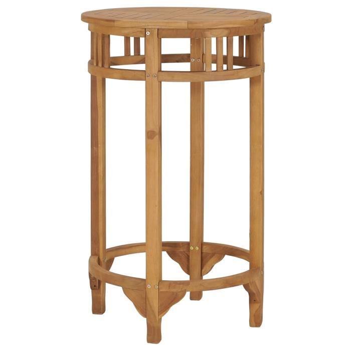 Table de bar Table de salle à manger scandinave de 4 à 6 personnes Ø 60 cm Bois de teck solide